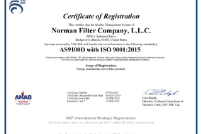 Norman Filters receives AS9100D with ISO 9001 Certification!